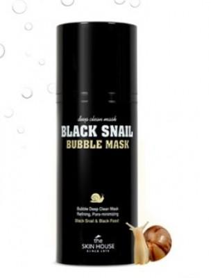 Маска кислородная с улиткой и древесным углем THE SKIN HOUSE Black snail bubble mask 100мл: фото