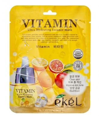 Тканевая маска для лица с витаминами EKEL Vitamin Ultra Hydrating Essence Mask 25гр: фото