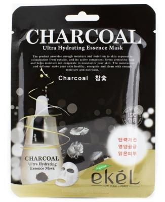 Тканевая маска для лица экстрактом древесного угля EKEL Charcoal Ultra Hydrating Essence Mask 25г: фото